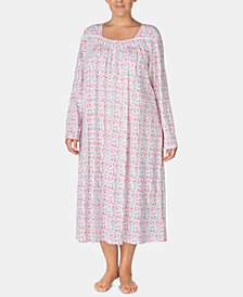 Eileen West Plus Size Cotton Printed Ballet Nightgown