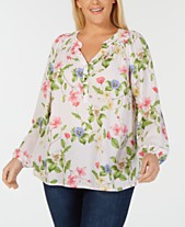 bc1274f7fb05d1 Charter Club Plus Size Long-Sleeve Smocked Printed Blouse