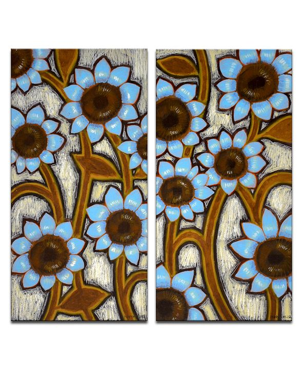 Ready2HangArt 'Turquoise Sunflowers' 2 Piece Floral Canvas Wall Art Set, 24x12""