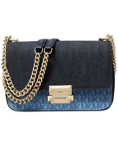 990977d8bdb5 ... Michael Kors Sloan Signature Denim Chain Small Shoulder Bag