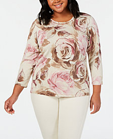 Alfred Dunner Home For The Holidays Plus Size Embellished Rose-Print Sweater