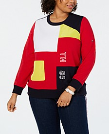 Plus Size Colorblocked Graphic Sweatshirt, Created for Macy's