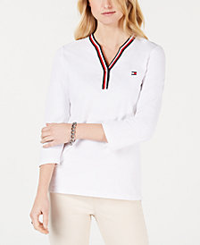 Tommy Hilfiger Striped-Trim 3/4-Sleeve Top