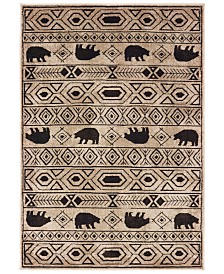"Oriental Weavers Woodlands 9651A Ivory/Black 3'10"" x 5'5"" Area Rug"