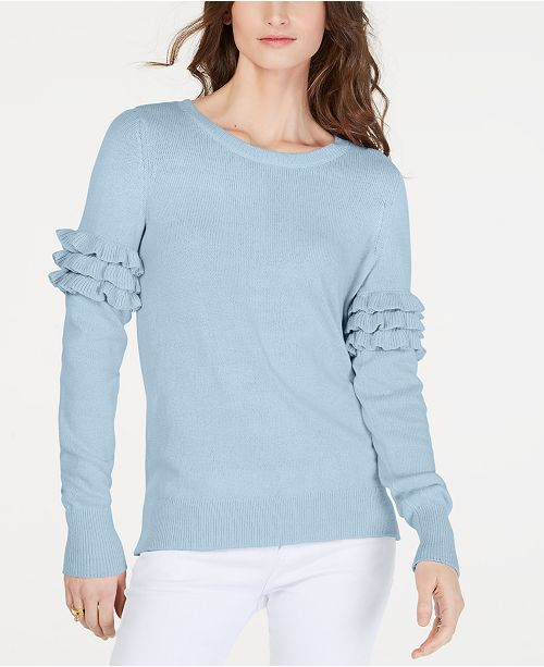 ... Michael Kors Cotton Ruffle-Sleeve Sweater f83c4cfb8