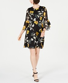 I.N.C. Floral-Print Bell-Sleeve Dress, Created for Macy's