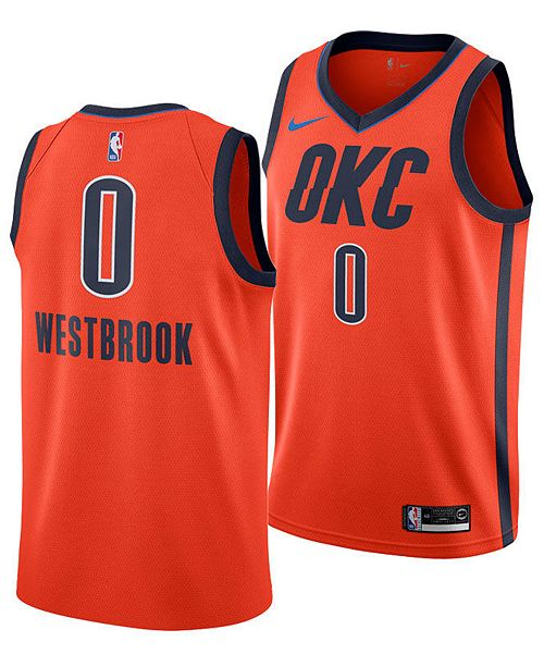 Nike Men's Russell Westbrook Oklahoma City Thunder Earned Edition Swingman Jersey