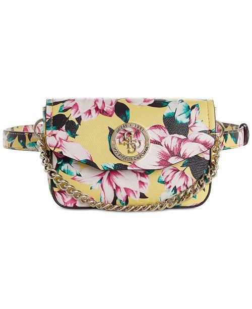 7bd07ab184 GUESS Landon Floral Belt Bag   Reviews - Handbags   Accessories - Macy s