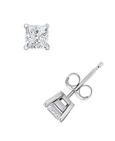Certified Princess Cut Diamond Stud Earrings (1 ct. t.w.) in 14k White Gold or Yellow Gold