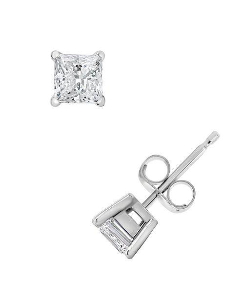 9fc658459 ... Macy's Certified Princess Cut Diamond Stud Earrings (1 ct. t.w.) in 14k  White ...