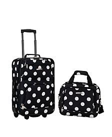 Rockland 2PCE Black Dots Softside Luggage Set