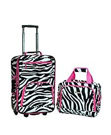 Rockland 2PCE Pink Zebra Softside Luggage Set