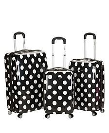 Rockland Laguna Beach Dots Hardside Upright Luggage Set