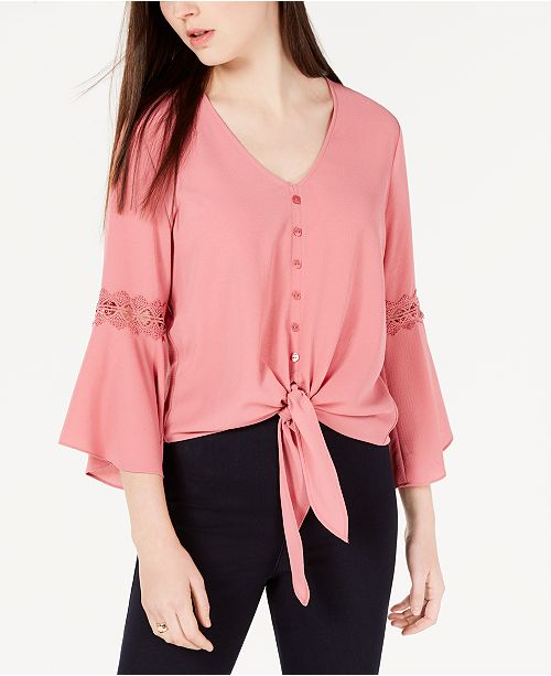 BCX Juniors' Tie-Front Bell-Sleeve Top