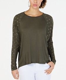 MICHAEL Michael Kors Studded-Sleeve Top