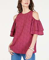 648a9a3f1e7672 MICHAEL Michael Kors Tiered-Sleeve Cold-Shoulder Top