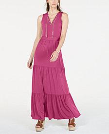 MICHAEL Michael Kors Chain Lace-Up Maxi Dress, In Regular & Petite Sizes