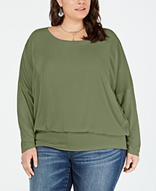 Plus Size Banded Chiffon Top