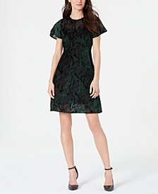 MICHAEL Michael Kors Textured Flutter-Sleeve Shift Dress