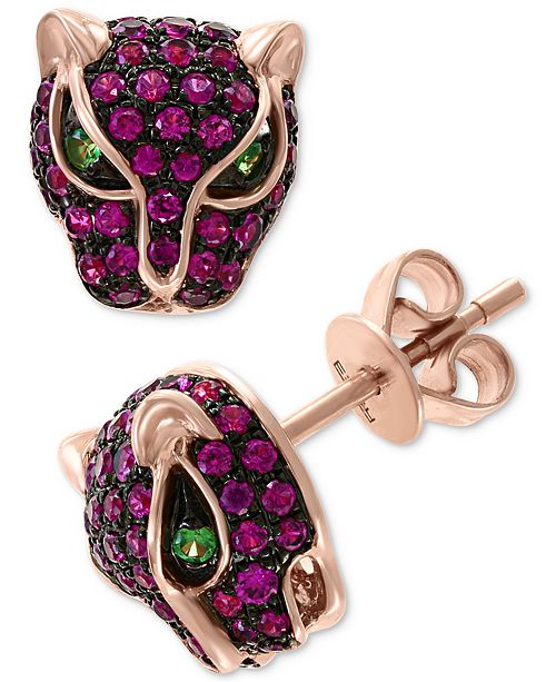 EFFY Collection EFFY® Certified Ruby (3/4 ct. t.w.) and Tsavorite Accent Panther Stud Earrings in 14k Rose Gold