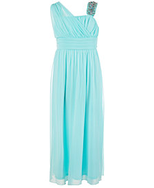 Sequin Hearts Big Girls One-Shoulder Beaded Maxi Dress