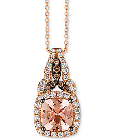"Le Vian® Peach Morganite (1 ct. t.w.), Vanilla Diamond (1/4 ct. t.w.) and Chocolate Diamond Accent 18"" Pendant Necklace in 14k Rose Gold"
