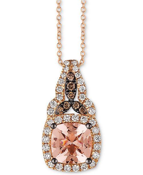 """Le Vian Peach Morganite (1 ct. t.w.), Vanilla Diamond (1/4 ct. t.w.) and Chocolate Diamond Accent 18"""" Pendant Necklace in 14k Rose Gold"""