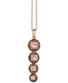 "Peach Morganite (1-1/5 ct. t.w.) and Chocolate Diamond (3/8 ct. t.w.) 18"" Graduated Pendant Necklace in 14k Rose Gold"