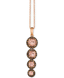 "Le Vian® Peach Morganite (1-1/5 ct. t.w.) and Chocolate Diamond (3/8 ct. t.w.) 18"" Graduated Pendant Necklace in 14k Rose Gold"