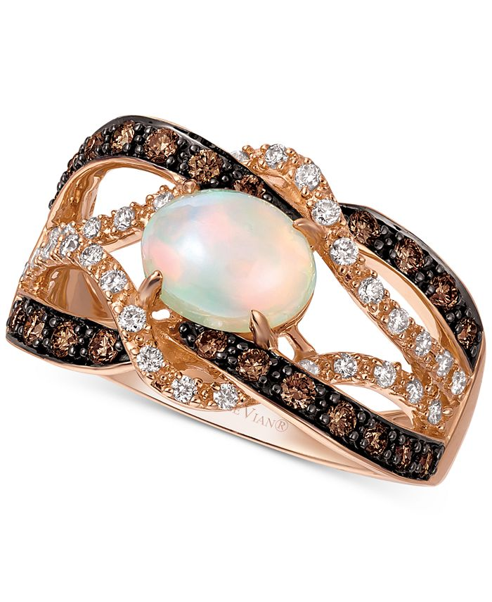 Le Vian - Neopolitan Opal (5/8 ct. t.w.), Vanilla Diamond (1/5 ct. t.w.), and Chocolate Diamond (1/3 ct. t.w.) Braided Statement Ring in 14k Rose Gold