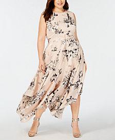 Calvin Klein Plus Size Printed Handkerchief-Hem Dress