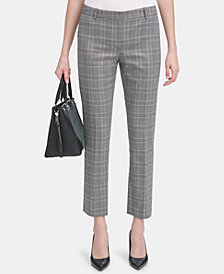 Calvin Klein Metallic Plaid Straight-Leg Pants