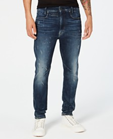 G-Star RAW Men's D-Staq 3D Skinny-Fit Stretch Destroyed Paint-Splatter Jeans, Created for Macy's
