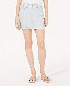 Vanilla Star Juniors' Striped Denim Mini Skirt