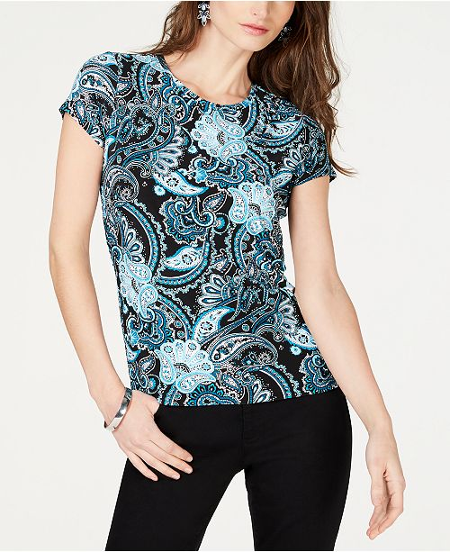 INC International Concepts I.N.C. Petite Embellished Printed Top, Created for Macy's