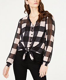 I.N.C. Petite Tie-Front Plaid Shirt, Created for Macy's