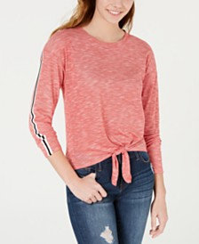 Freshman Juniors' Tie-Front Stripe-Sleeve Top