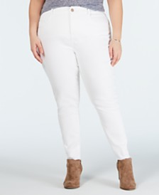 YSJ Plus Size Colored Raw-Hem Skinny Jeans