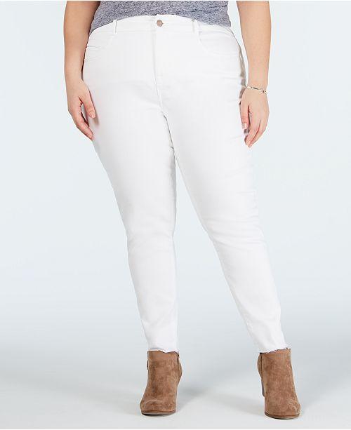 YSJ Plus Size Colored Raw-Hem Skinny Jeans