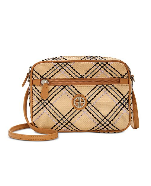 Giani Bernini Straw Plaid Convertible Camera Bag, Created for Macy's