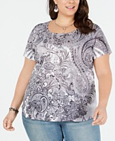 5001bc62a4558a Style   Co Plus Size Printed Scoop-Neck Top