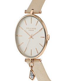 "Lola Rose ""Calming"", Ladies, Nude Leather Strap with Genuine White Howlite Stone Hanging Charm, 34 MM"
