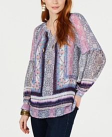 Style & Co Mixed-Print Split-Neck Top, Created for Macy's