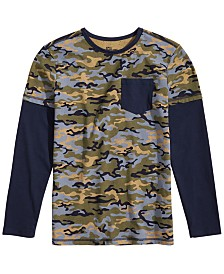 Epic Threads Toddler Boys Faux-Layer Camo-Print T-Shirt, Created for Macy's