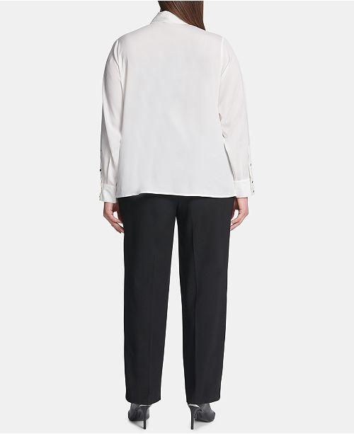c7ca69a3794 Calvin Klein Plus Size Tie-Neck Blouse   Reviews - Tops - Women - Macy s