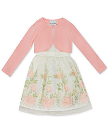 Rare Editions Big Girls 2-Pc. Floral Embroidered Dress & Cotton Cardigan Set