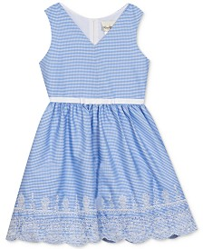 Rare Editions Big Girls Plus-Size Embroidered Gingham Dress, Created for Macy's