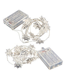 LumaBase Set of 2 Snowflake Mini String Lights with Timer
