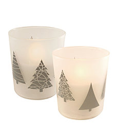 LumaBase Set of 2 Christmas Tree Glass Battery Operated LED Candles