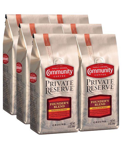 Community Coffee Private Reserve Founder's Blend Medium-Dark Roast Specialty-Grade Ground Coffee, 12 Oz - 6 Pack